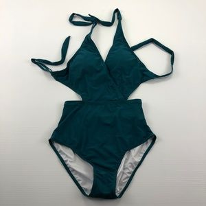 Zeraca One Piece Green Blue Swimwear Bathing Suit